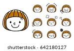 facial expression of girls  set ... | Shutterstock .eps vector #642180127