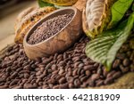 natural cocoa powder with cocoa ... | Shutterstock . vector #642181909