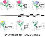 flowers and greeting card | Shutterstock .eps vector #642195589