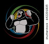 gorilla designed on spin wheel... | Shutterstock .eps vector #642201835