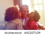 daughters kisses father morning ...   Shutterstock . vector #642207139