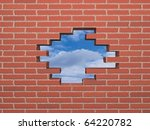 hole in the bricked wall to the ... | Shutterstock . vector #64220782
