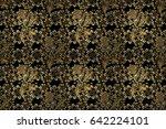 black background with golden... | Shutterstock . vector #642224101
