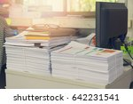 pile of unfinished documents on ... | Shutterstock . vector #642231541