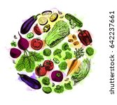 vector circle of vegetables.... | Shutterstock .eps vector #642237661