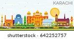 karachi skyline with color... | Shutterstock . vector #642252757