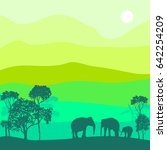 vector landscape with elephants