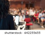 rear view of business woman at... | Shutterstock . vector #642255655