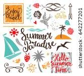 summer paradise set. logo ... | Shutterstock .eps vector #642277201