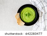 homemade puree soup with green... | Shutterstock . vector #642283477