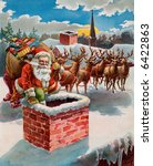 Santa  Reindeer And Sleigh On...