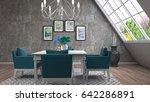 interior dining area. 3d... | Shutterstock . vector #642286891