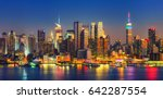 view on manhattan at night  new ... | Shutterstock . vector #642287554