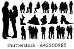 collection of silhouettes... | Shutterstock . vector #642300985