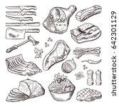 different meat food. pork ... | Shutterstock .eps vector #642301129