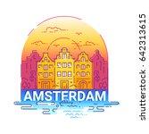 amsterdam   modern line travel... | Shutterstock . vector #642313615