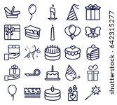 birthday icons set. set of 25... | Shutterstock .eps vector #642315277