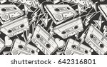 audio cassettes drawn seamless... | Shutterstock .eps vector #642316801