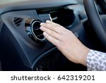 driver hand on air ventilation... | Shutterstock . vector #642319201