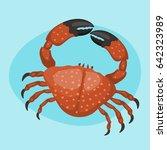 cartoon crab vector flat... | Shutterstock .eps vector #642323989
