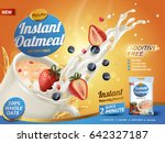 oatmeal ad  with milk splashing ... | Shutterstock .eps vector #642327187