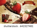 strawberry flavor chocolate ad  ... | Shutterstock .eps vector #642327481