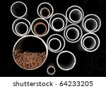 Metal pipes and bars in a rack - stock photo