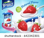 strawberry flavor yogurt ad ... | Shutterstock .eps vector #642342301