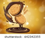 chocolate flavor sandwich... | Shutterstock .eps vector #642342355