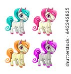 cute cartoon little horses.... | Shutterstock .eps vector #642343825