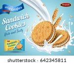 milk flavor sandwich cookies ... | Shutterstock .eps vector #642345811