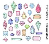 a set of crystal gems. colored... | Shutterstock .eps vector #642360211