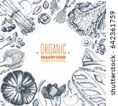 healthy food top view vector... | Shutterstock .eps vector #642361759