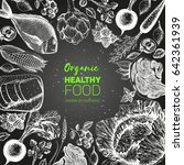 healthy food frame vector... | Shutterstock .eps vector #642361939