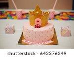 mastic cake birthday beautiful...   Shutterstock . vector #642376249