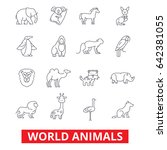 world animals  giraffe  zebra ...   Shutterstock .eps vector #642381055