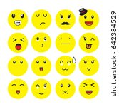 set of emoticons. set of emoji. ... | Shutterstock .eps vector #642384529