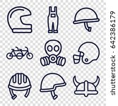 helmet icons set. set of 9... | Shutterstock .eps vector #642386179