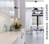 white open kitchen with built... | Shutterstock . vector #642392494