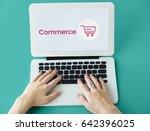 hands working on laptop network ...   Shutterstock . vector #642396025