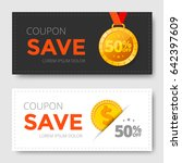sale coupon template with gold... | Shutterstock .eps vector #642397609