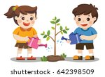 cute kids volunteers planted... | Shutterstock .eps vector #642398509