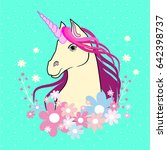 cartoon magical unicorn. vector ... | Shutterstock .eps vector #642398737