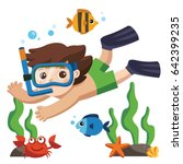 a little boy diving with fish... | Shutterstock .eps vector #642399235