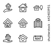 property icons set. set of 9... | Shutterstock .eps vector #642403951