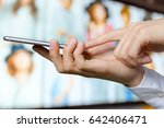 close up of a man using mobile... | Shutterstock . vector #642406471