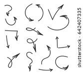 hand drawn vector arrows set.... | Shutterstock .eps vector #642407335