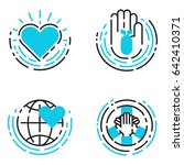 peace outline blue icons love... | Shutterstock .eps vector #642410371