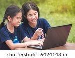 asian child and sister using...   Shutterstock . vector #642414355