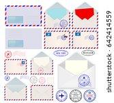 envelopes. international mail... | Shutterstock .eps vector #642414559